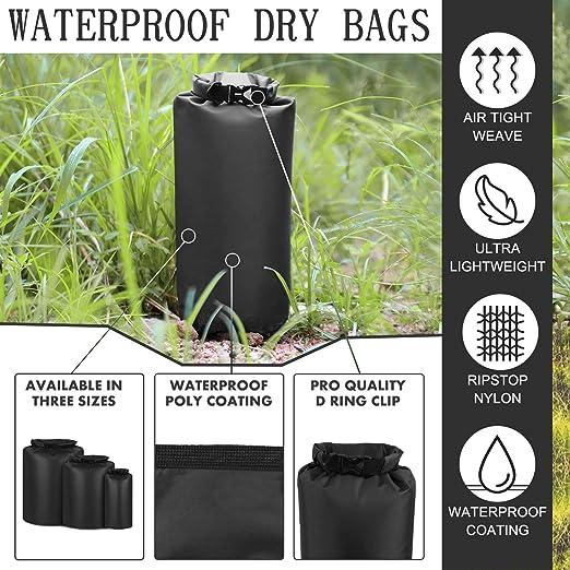 Diamond Ripstop Roll-Top Doat Drybag Sacks for Kayaking Upstream Drifting Rafting Hiking Dry Bag 3-Pack 8L 40L 70L Boat Dry Sacks Waterproof Dry Bags Set Ultra Lightweight Waterproof Bags