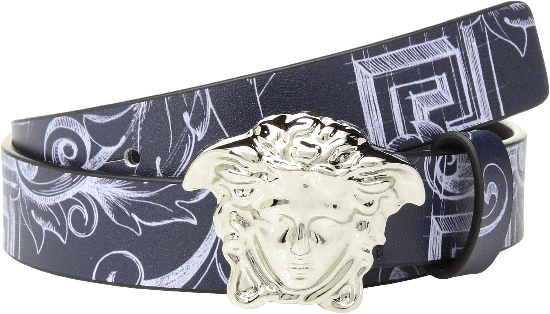 Versace Kids  Boy's Printed Belt with Medusa Buckle (Big Kids) Blue Print M 11