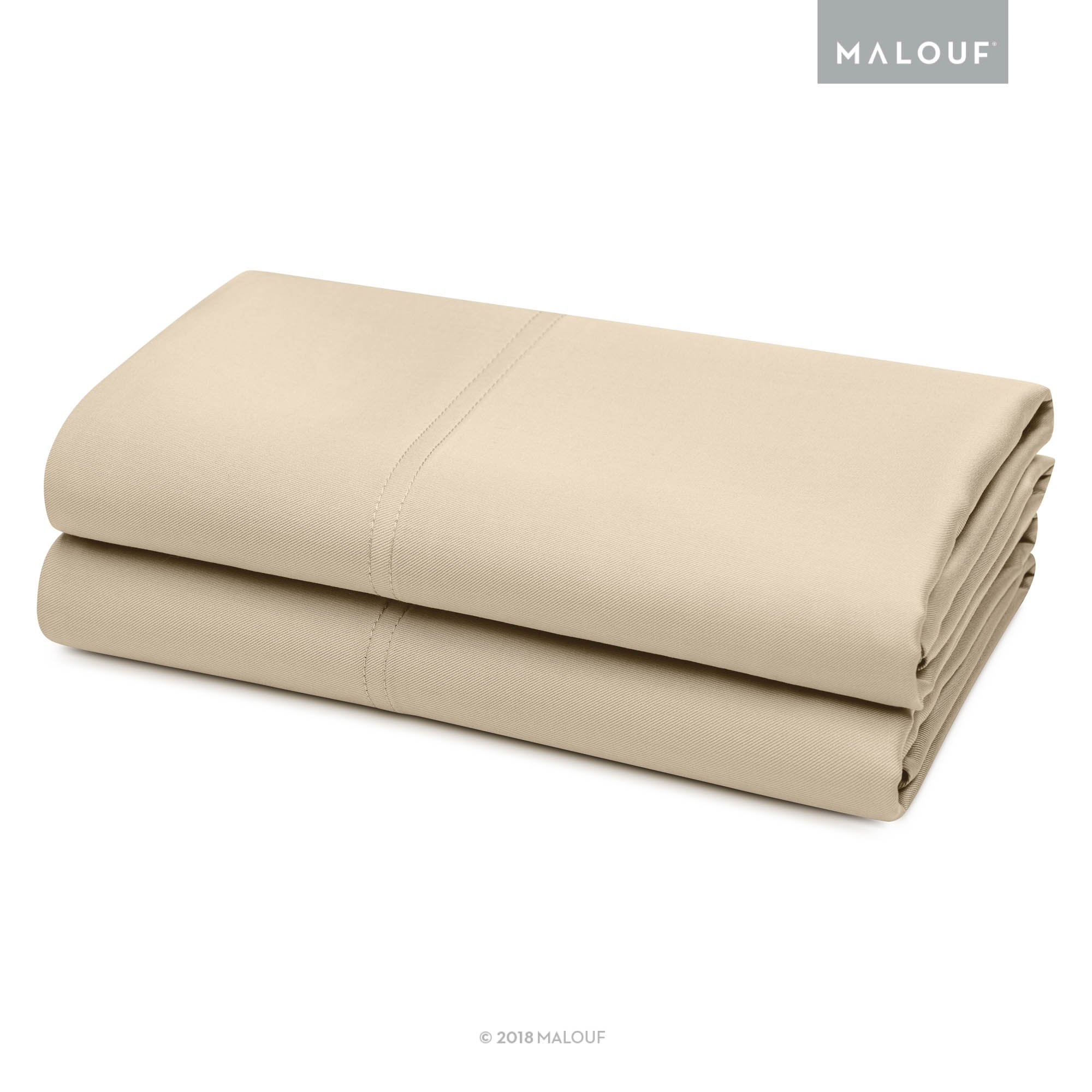 MALOUF 100% Rayon from Bamboo Pillowcase Set - 2-pc Set - Queen - Driftwood