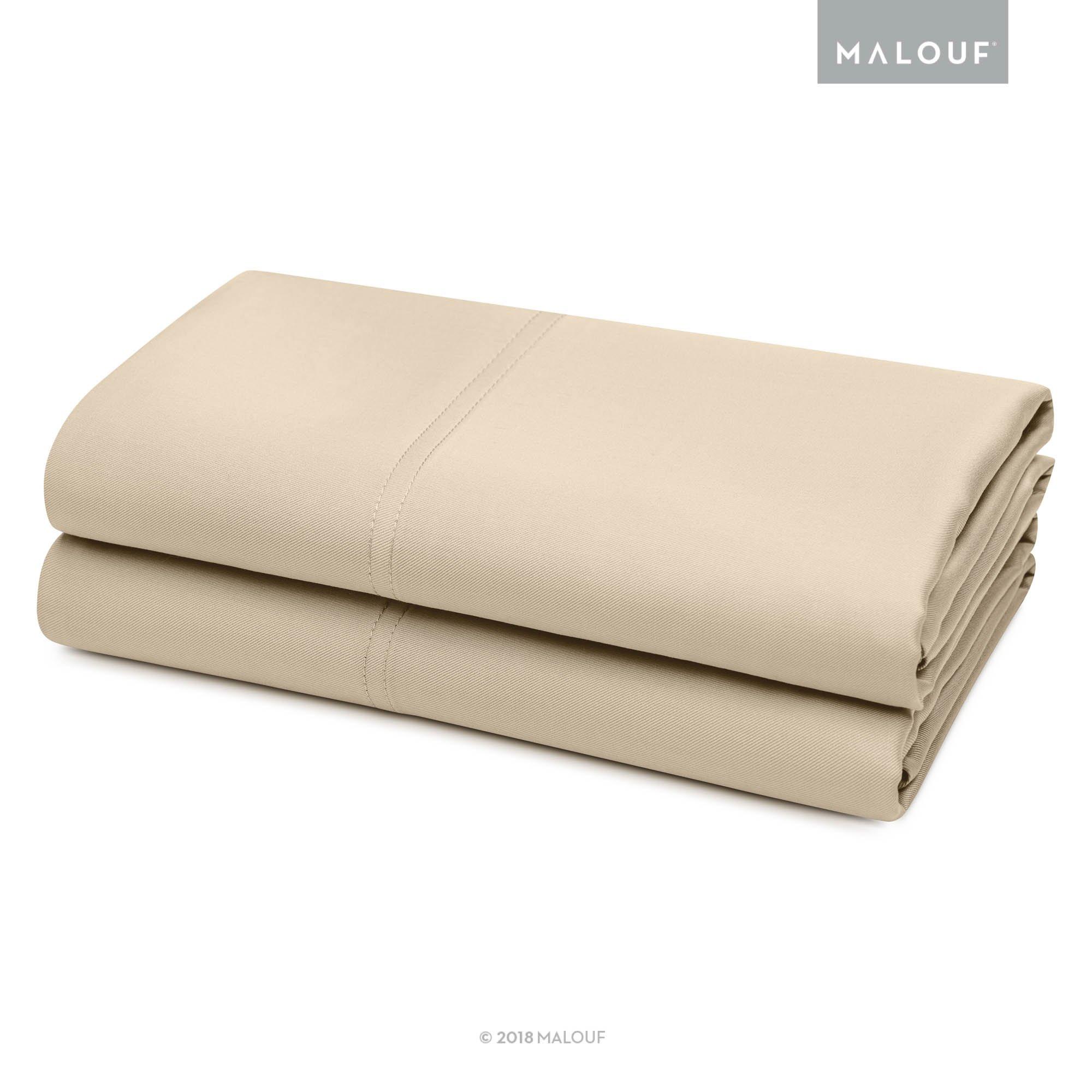 MALOUF 100% Rayon from Bamboo Pillowcase Set - 2-pc Set - King - Driftwood