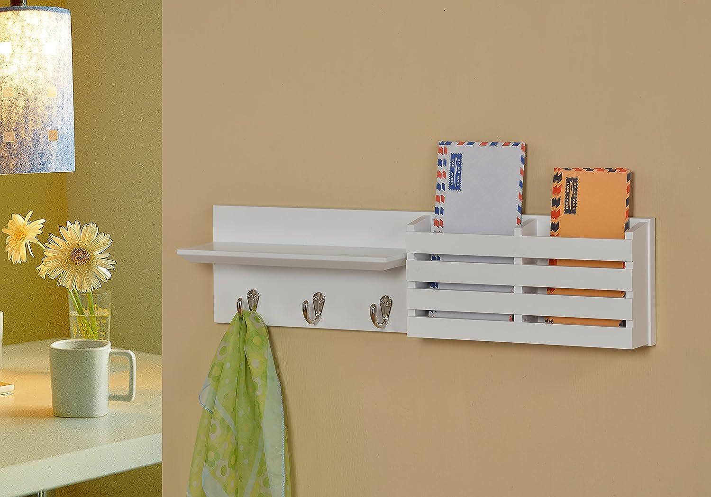 White Finish Entryway Coat Rack Mail Envelope Storage and Key Holder Hooks 24 Wide
