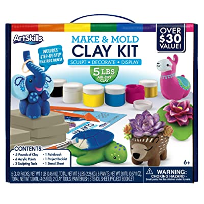 ArtSkills Make and Mold Clay Kit, Air-Dry Clay, 5 pounds, 6 Projects Included: Toys & Games