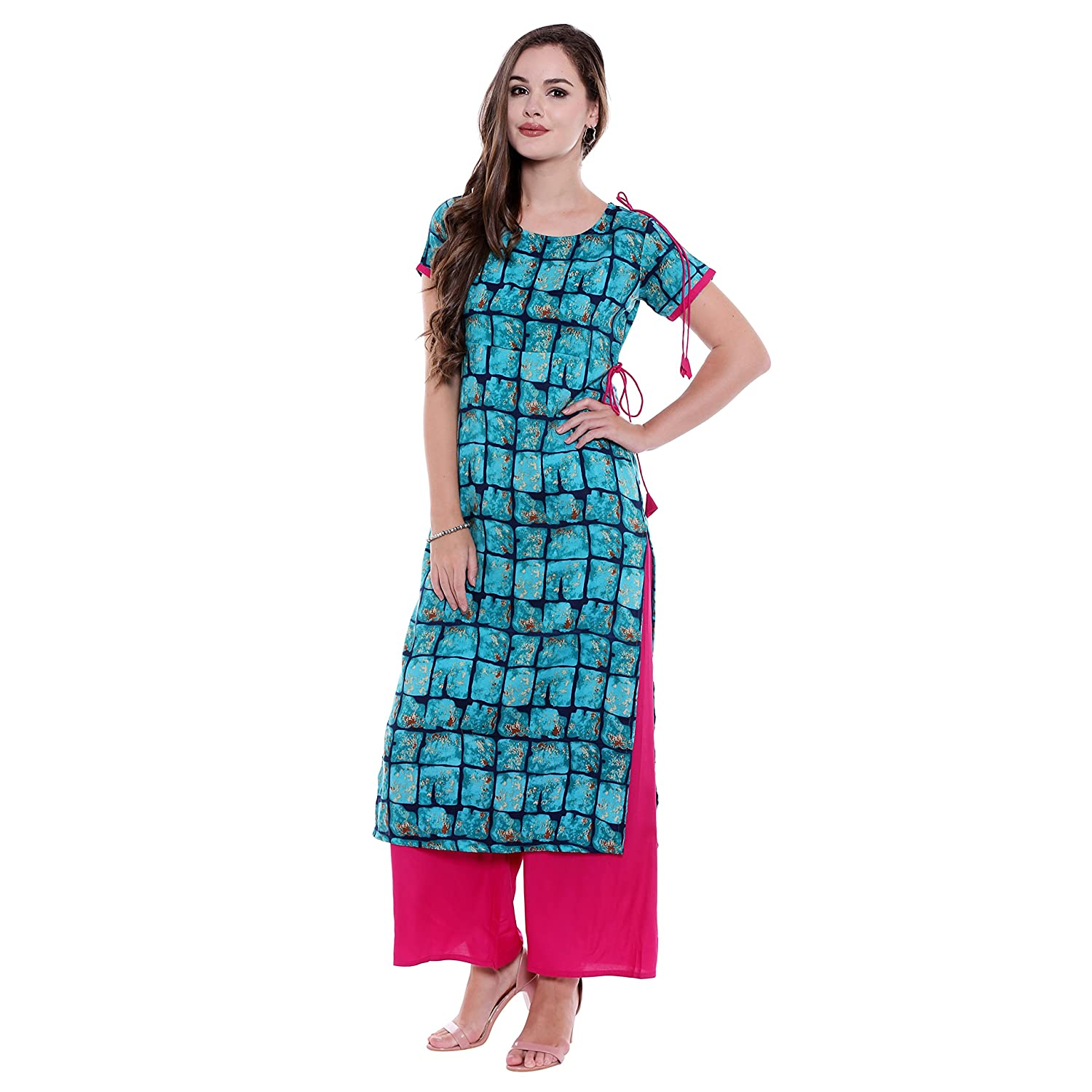 f1247476bb Oomph! Rayon Kurti Palazzo Sets for Women - Straight - Blue  Amazon.in   Clothing   Accessories