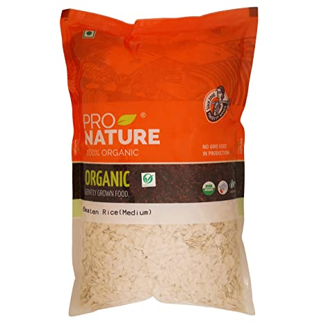 Pro Nature Organic Beaten Rice - Medium, 1kg Pouch
