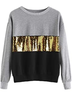 Verdusa Womens Sequin Sweatshirt Long Sleeve Letter Print Loose Pullover Shirt