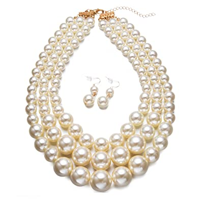201b8b359 Amazon.com: Yuhuan Faux Big White Pearl 3 Layer Chunky Necklace and Earring  Set Bib Necklace Set: Jewelry