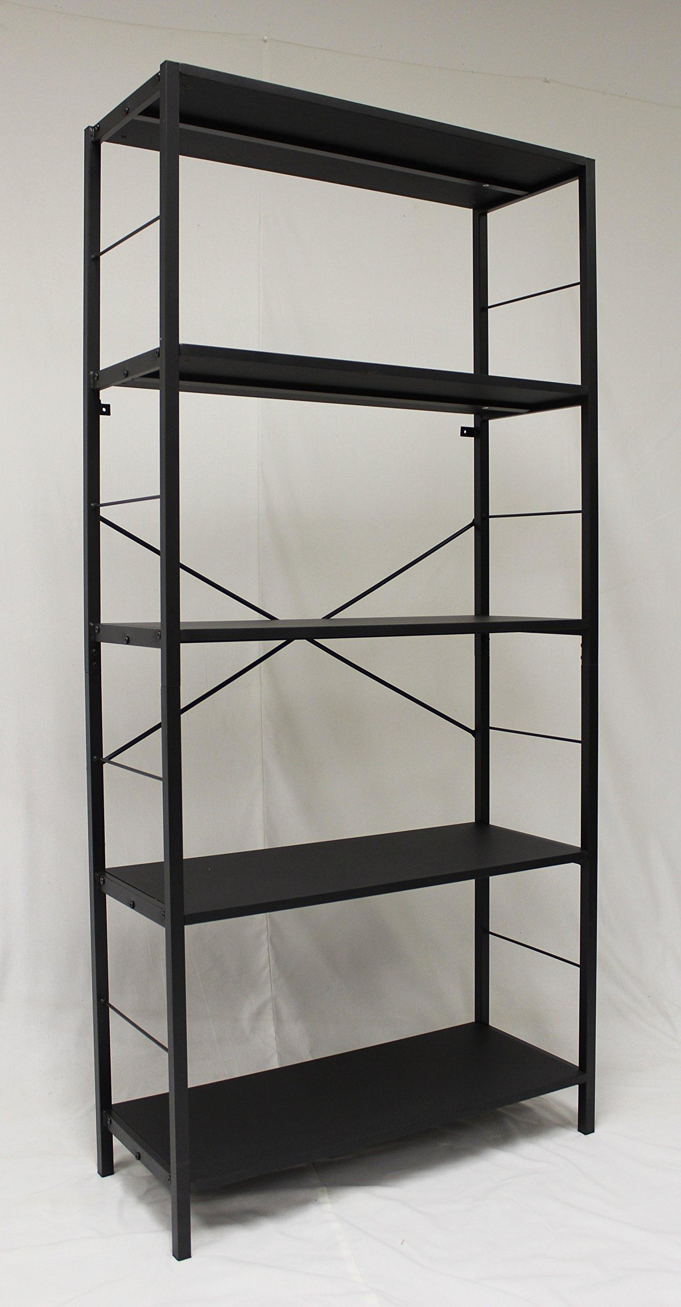 eHemco 5 Tier Bookcase in Black