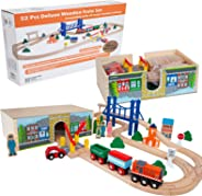 Orbrium Toys 52 Pcs Deluxe Wooden Train Set with 3 Destinations Fits Thomas, Brio, Chuggington, Melissa and Doug, Imaginarium