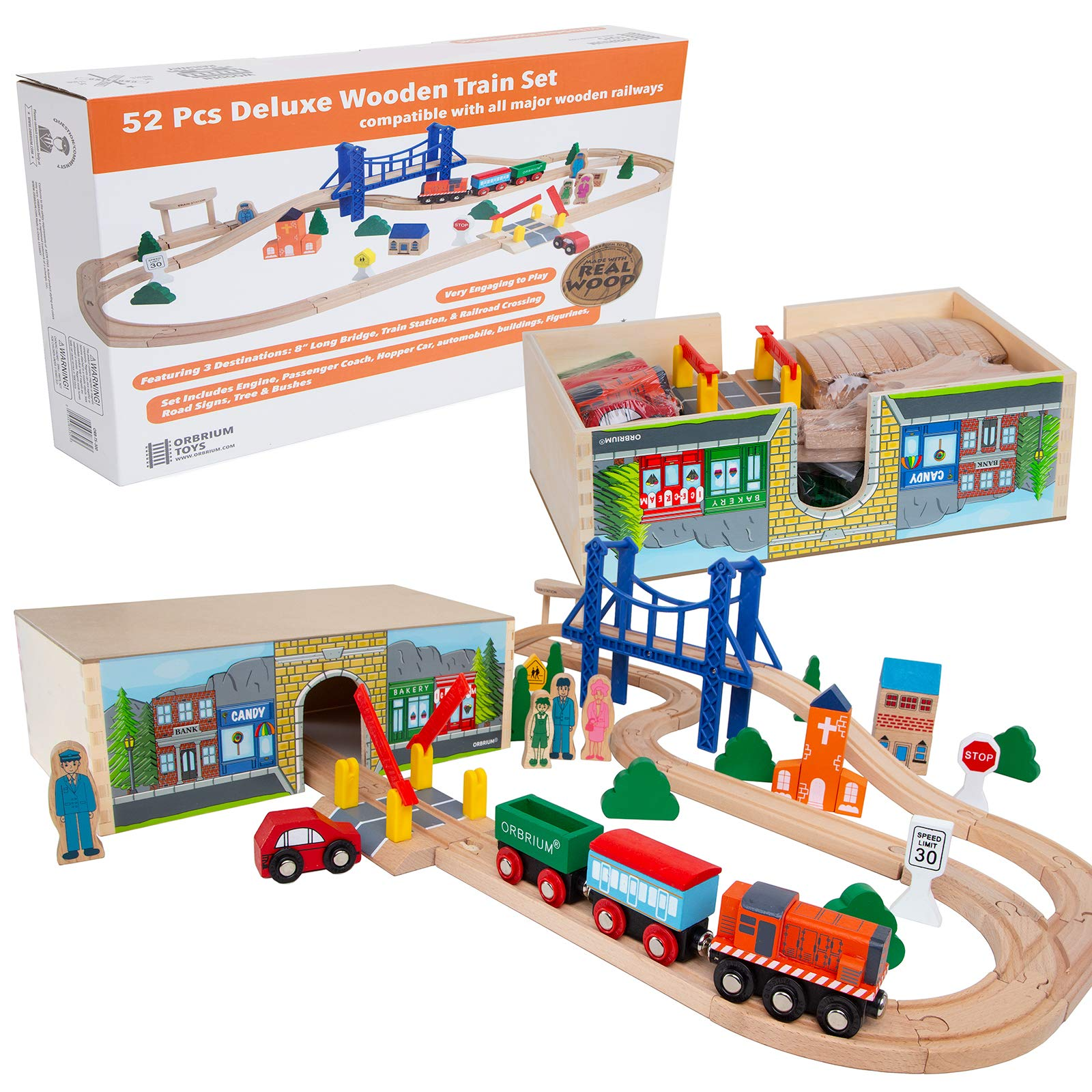 Orbrium Toys 52 Pcs Deluxe Wooden Train Set with 3 Destinations Fits Thomas, Brio, Chuggington, Melissa and Doug, Imaginarium Wooden Train by Orbrium