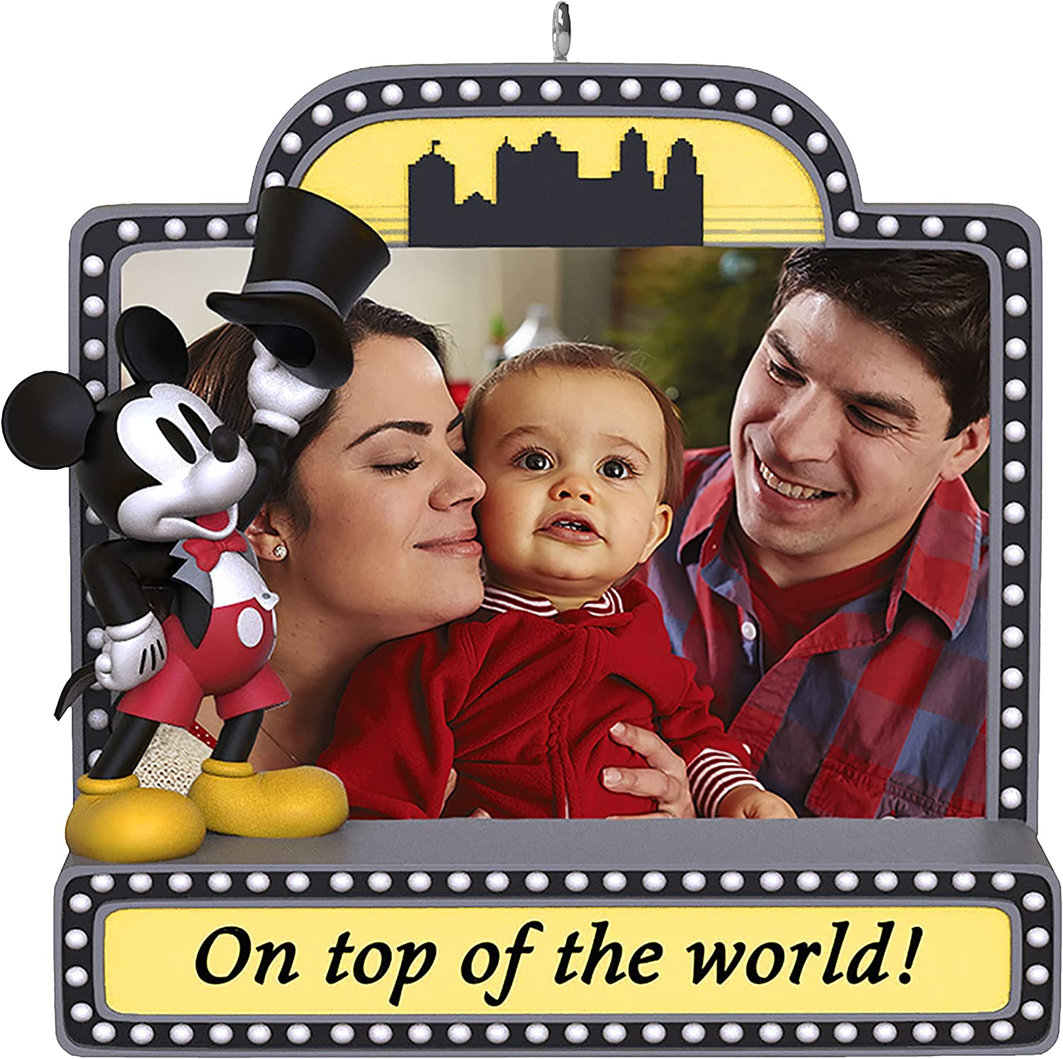 Disney 2021 Christmas Ornament Amazon Com Hallmark Keepsake Christmas Ornament 2021 Disney Mickey Mouse On Top Of The World Marquee Sign Photo Frame Home Kitchen