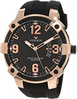 Viceroy Mens 47635-95 Luminous Rose-Gold Black Rubber Date Watch