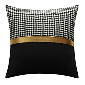 NATURALSHOW Throw Pillow Cases Covers for Bed Couch Sofa Modern Minimalist Black and White Gold Leather Stitching Pillow Case Cushion Cover18 X 18 Inches(4#)