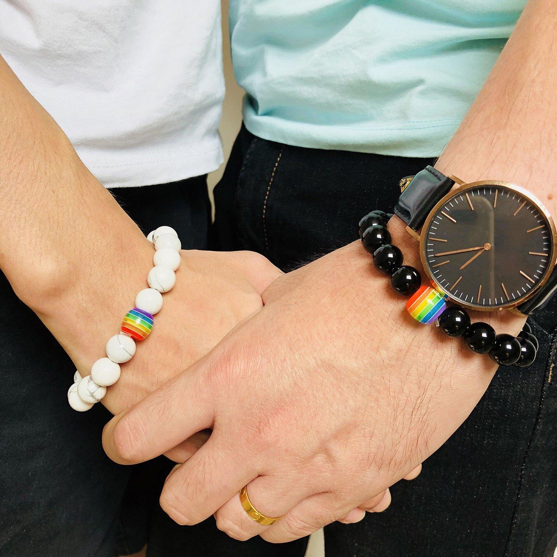 Nanafast Titanium Stainless Steel Magnet Rainbow LGBT Pride Handmade Braided Bracelet PU Leather Weave Plaited Jewelry