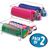 mDesign Stackable Water Bottle Storage Holder for Kitchen Cabinet, Refrigerator - Double, Pack of 2, Clear