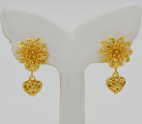 Amazon stud flower heart drop filigree 22k 24k yellow thai gold stud flower heart drop filigree 22k 24k yellow thai gold plated gp women girl earrings 15 mightylinksfo