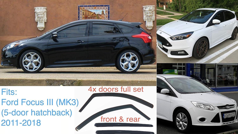 4x Deflectores de Aire para Ford Focus 2011-2018 MK3 de 5 puertas Derivabrisas ajuste interior protecci/ón sol lluvia nieve viento