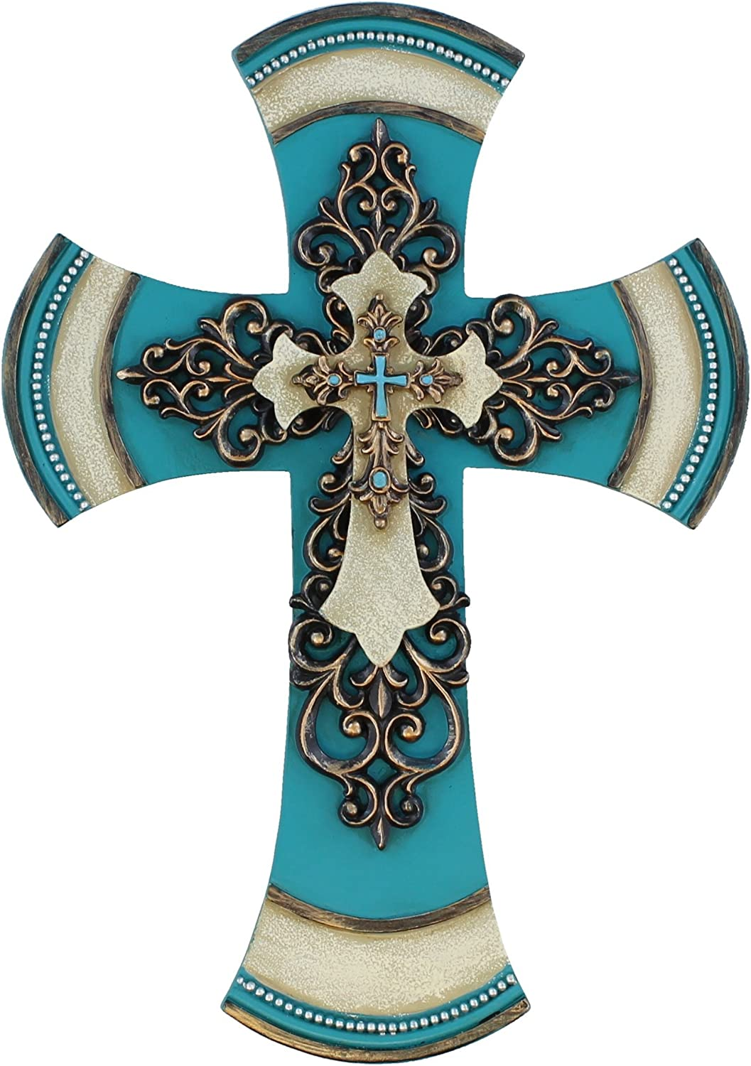"Old River Outdoors 11 1/2"" Decorative Layered Tuscan Wall Cross Scrolly Fleur De Lis - Teal"