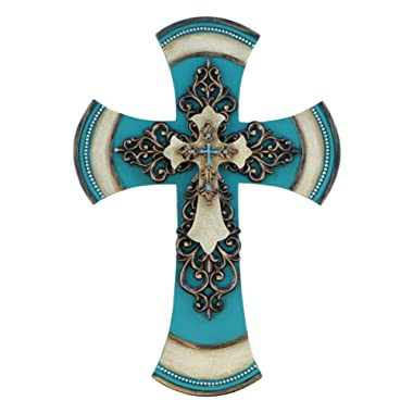 Old River Outdoors 11 1/2  Decorative Layered Tuscan Wall Cross Scrolly Fleur De Lis - Teal