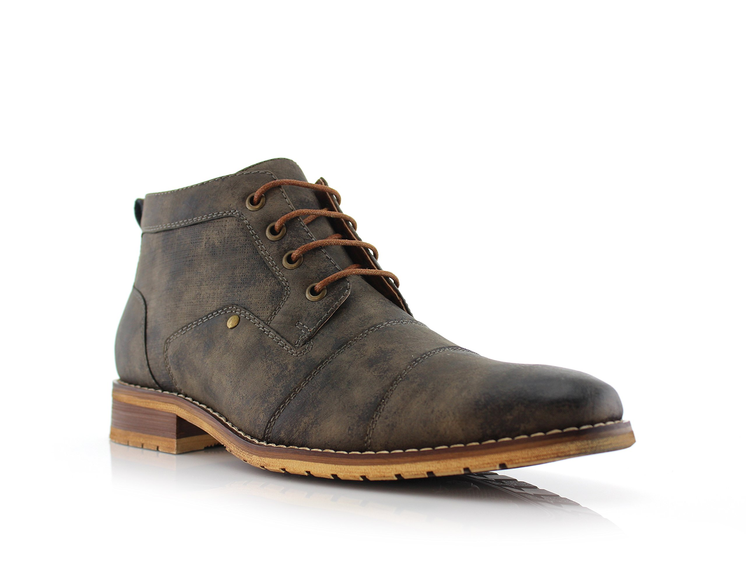 Ferro Aldo Blaine MFA806035 Mens Casual Brogue Mid-Top Lace-up and Zipper Boots – Grey, Size 10.5