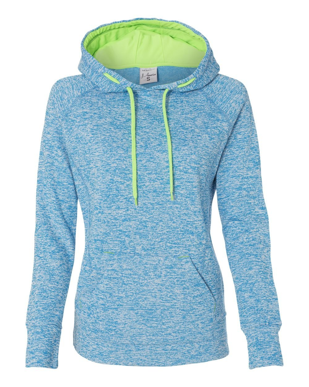 Ladies Pullover Hooded Sweatshirt, Blue/Green, Medium by J. America