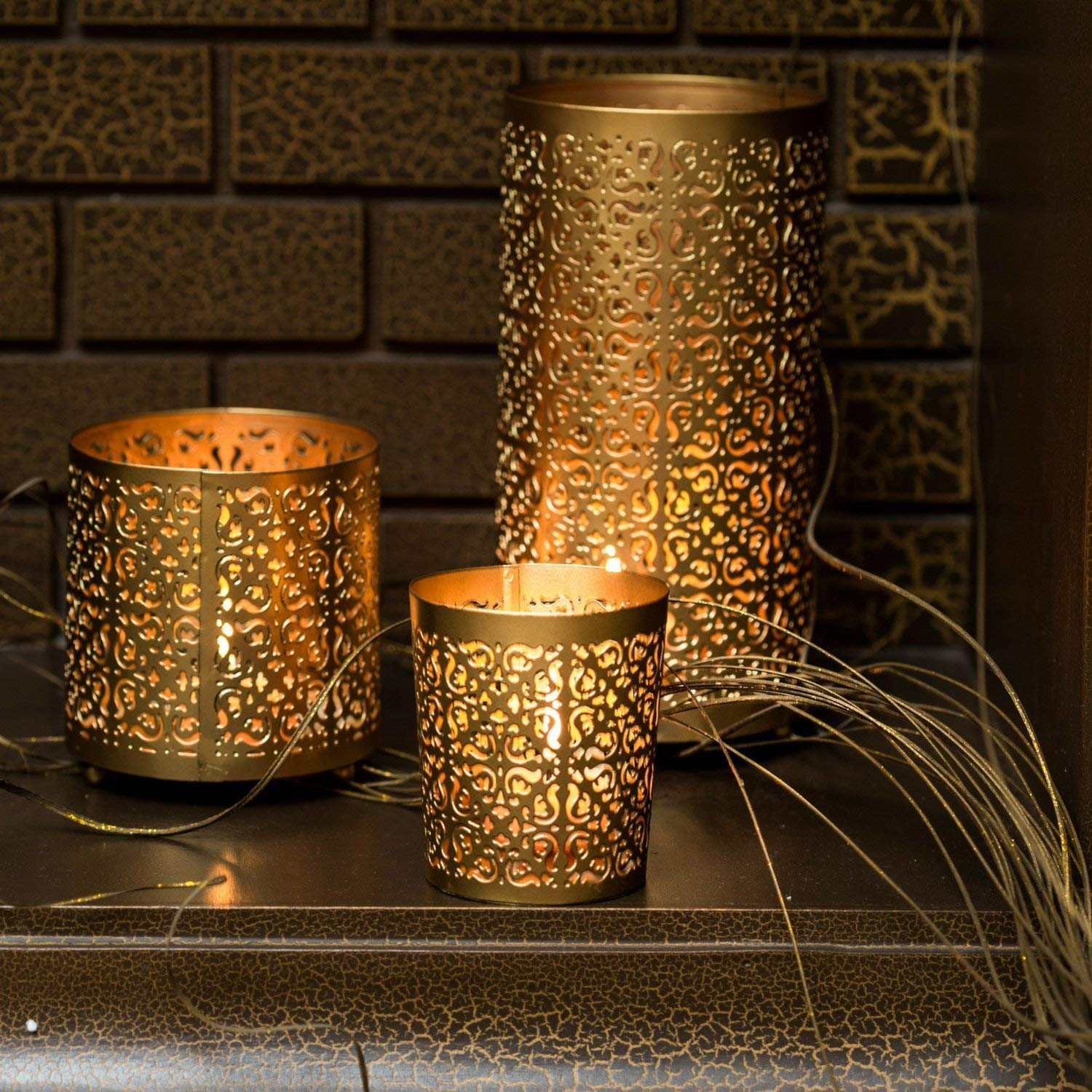 KRIXOT Candle Holders Set of 3 in Metallic Gold with Beautiful Flickering Reflections | Complimentary 3 Glass Votive Candles | Ideal for Gifting, Home Decor and Wedding Decorations