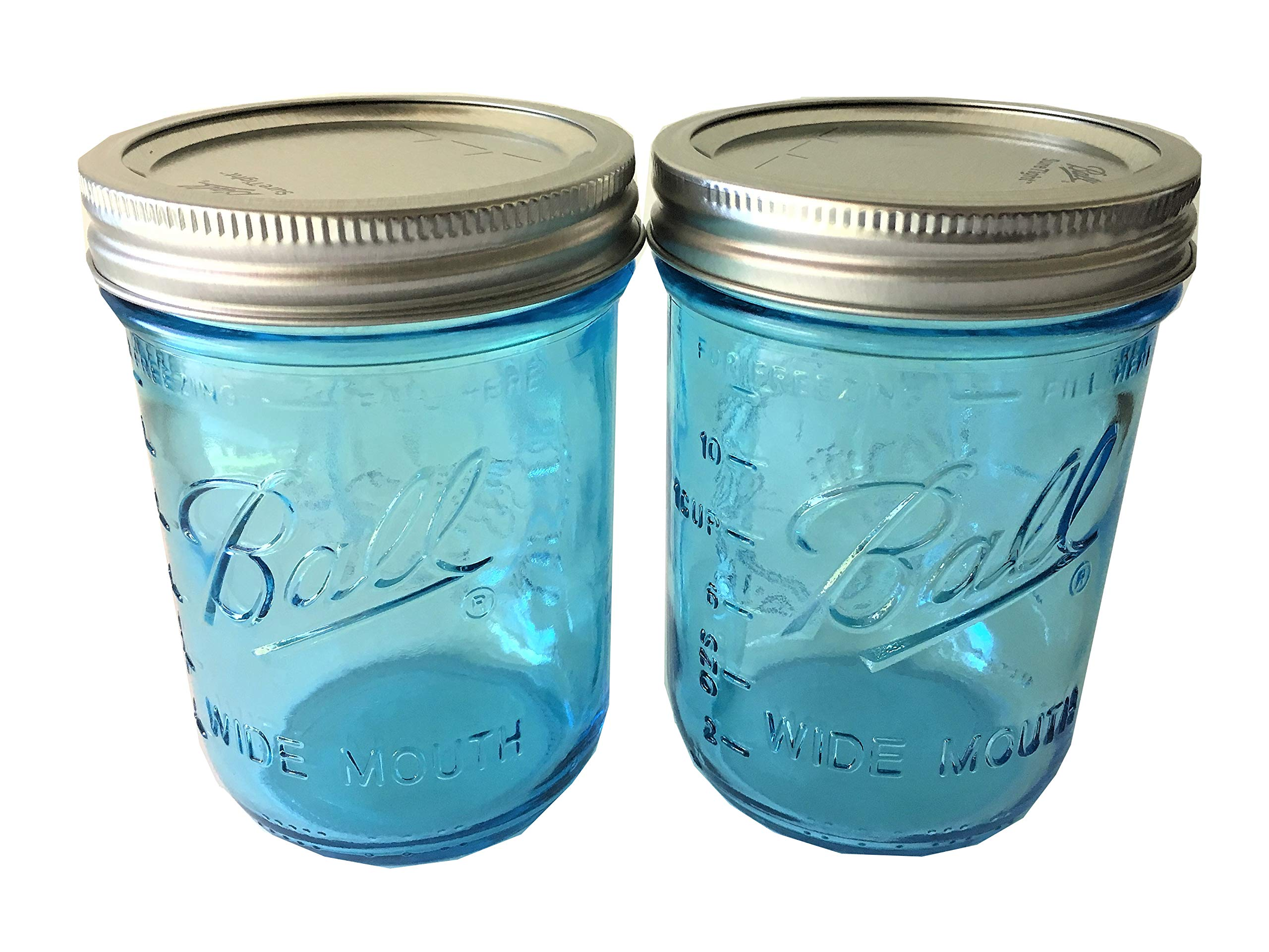 Ball Mason Jar-16 oz. Aqua Blue Glass Wide Mouth - Set of 2