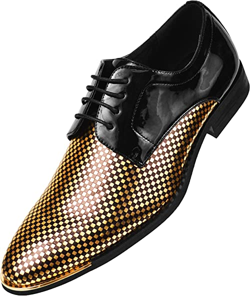 Fashion Mens high chunky heel casual Lace Up patent Shiny leather dress shoes