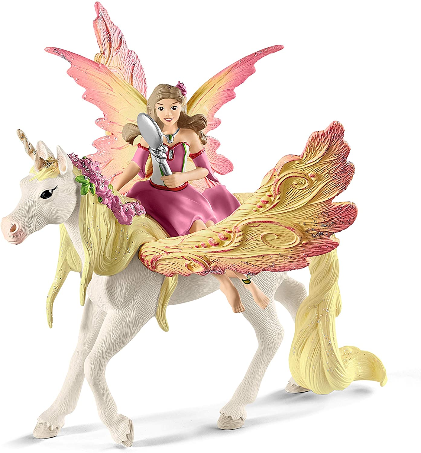 SCHLEICH bayala Fairy Feya with Pegasus Unicorn Toy for Kids Ages 5-12