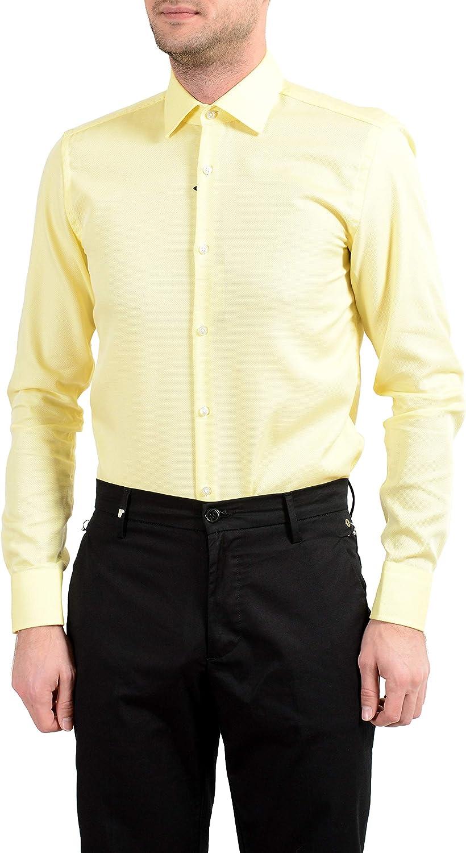 "Hugo Boss /""Jenno/"" Men/'s Slim Yellow Button Down Long Sleeve Dress Shirt"