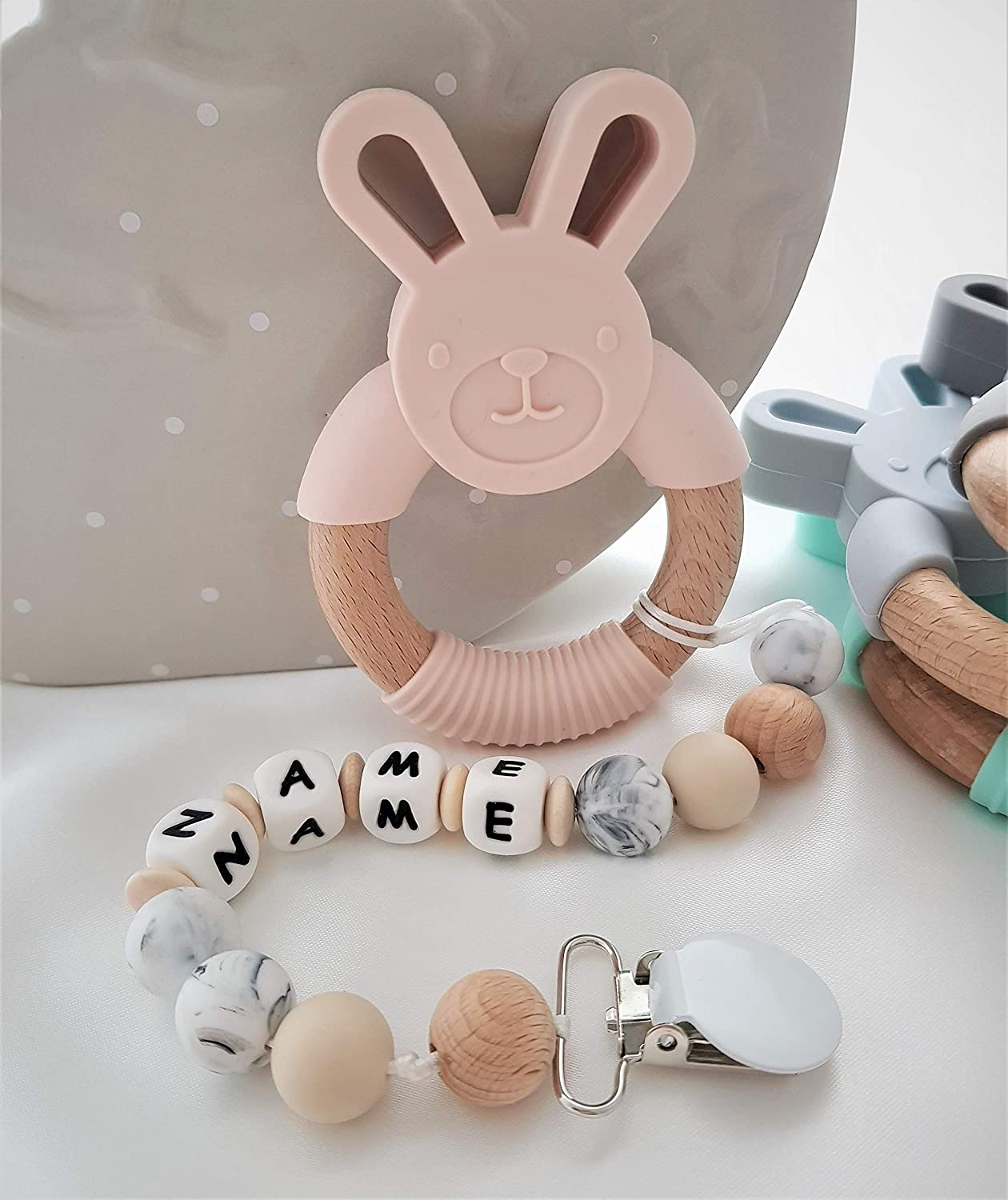 Personalised Silicone /& Wooden Baby Teether//Bunny Ring Teether//Personalised Silicone Soother//Teether Peach