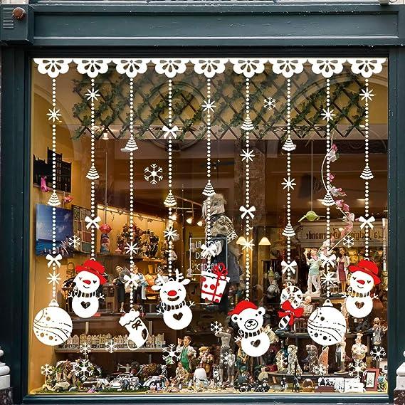 Pegatinas de Navidad, TedGem Pegatinas de Navidad monigote de nieve fiesta extraíbles, Dos Estilos Hacen que el Hogar esté lleno de Ambiente Navideño