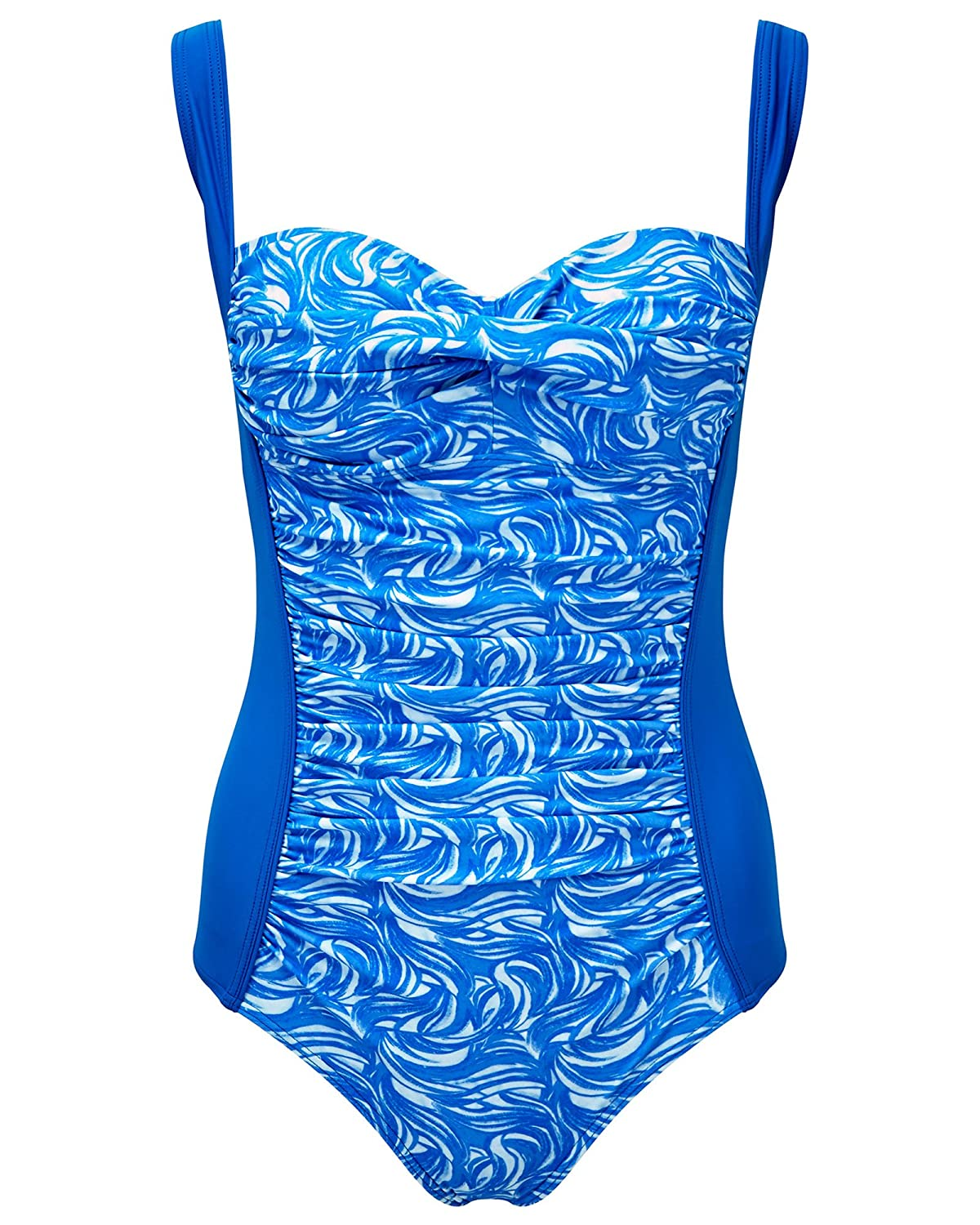 18928835ef Amazon.com: Cotton Traders Womens Ruched Front Tummy Control Swimsuit Scoop  Neck Adjustable Straps: Clothing