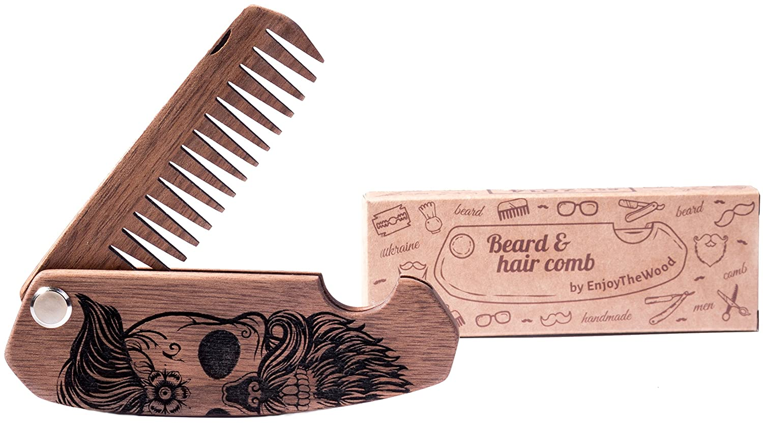 Beard Comb Wood Folding Walnut Skull By Enjoy The Wood - Moustache Comb - Wooden Folding Comb For Men With Sugar Skull Grooming Kit Pocket Size Husband Gift Father Dad Boyfriend Friend