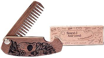 Beard Comb Wood Folding Walnut Skull Moustache Wooden Men With Sugar Skull  Grooming Kit Pocket Size