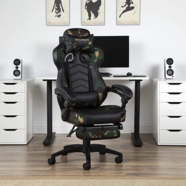 RESPAWN 110 Racing Style Gaming Chair, Reclining Ergonomic Leather Chair with Footrest, in Forest Camo