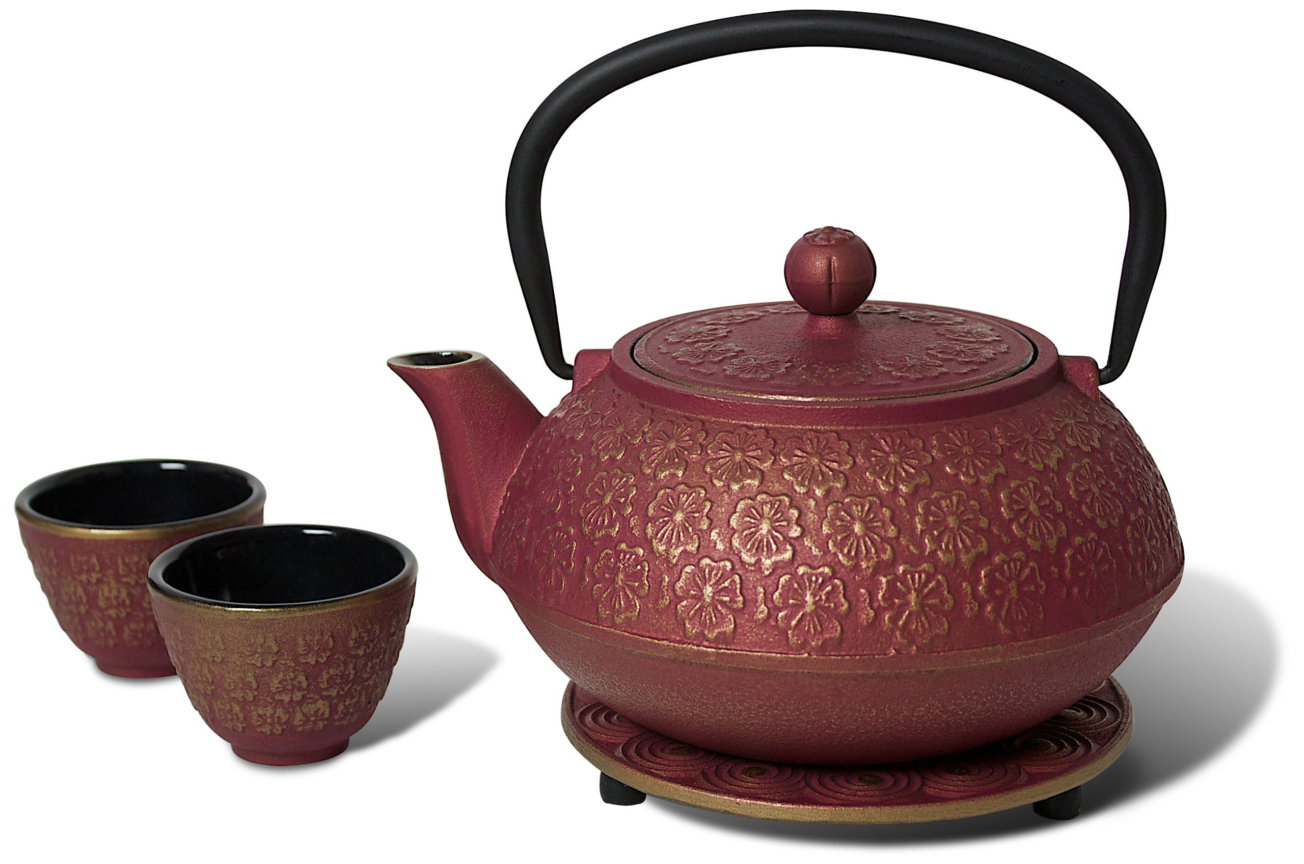 Miya Scarlet Blossom 34-Ounce Cast Iron Teapot and Teacup Set w/ Strainer and Trivet, Pink