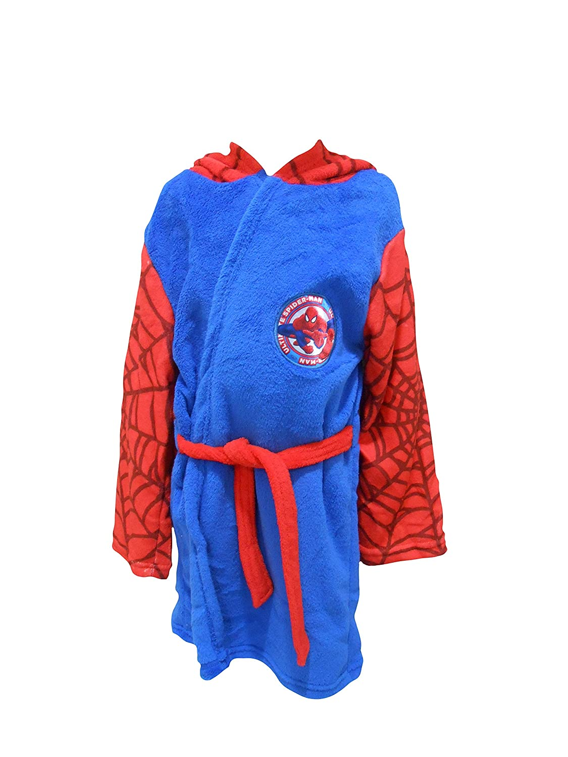 Ultimate Spiderman Marvel Kids Hooded Fleece Bathrobe Dressing Gown The Cookie Company