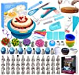 Cake Decorating Supplies Kit 280 PCS Baking Set for Beginners with Cake Turntable Stand Rotating Turntable,Russian Piping Tips Set, Cake Baking Supplies for Cake Lovers