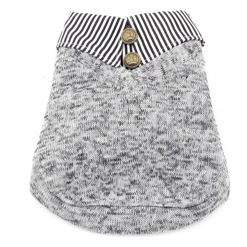 Smalllee _ Lucky _ Store Pet Dog Stripes maglione felpa in pile foderato cappottino maglietta polo YP0198-gray-S
