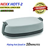 Nexx Hott-2 Electrical Lunch Box Food Warmer, Tiffin Box Serve Hot in 10 Minutes, 740ml, Set of 2, Grey