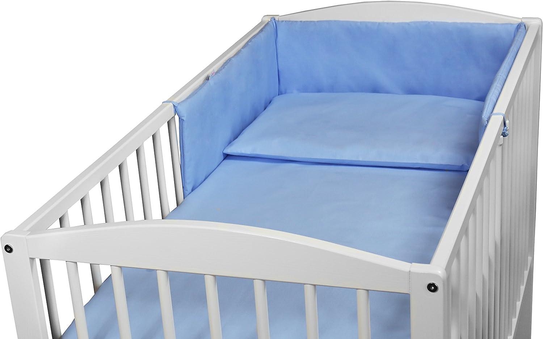 BABY BEDDING SET 3PCS COT SIZE PILLOW DUVET COVER BUMPER 120x60CM BLUE