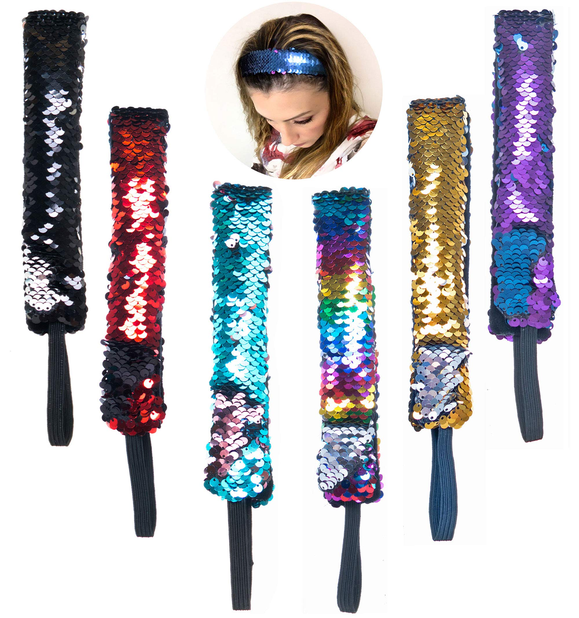 Hair Accessories for Girls and Women 6 PCs - Mermaid Sequin Sparkly Glitter Headbands with Elastic Cord - Reversible Color Changing Flip Sequins Wide Headband - Mermaid Party Favors – Party Supplies