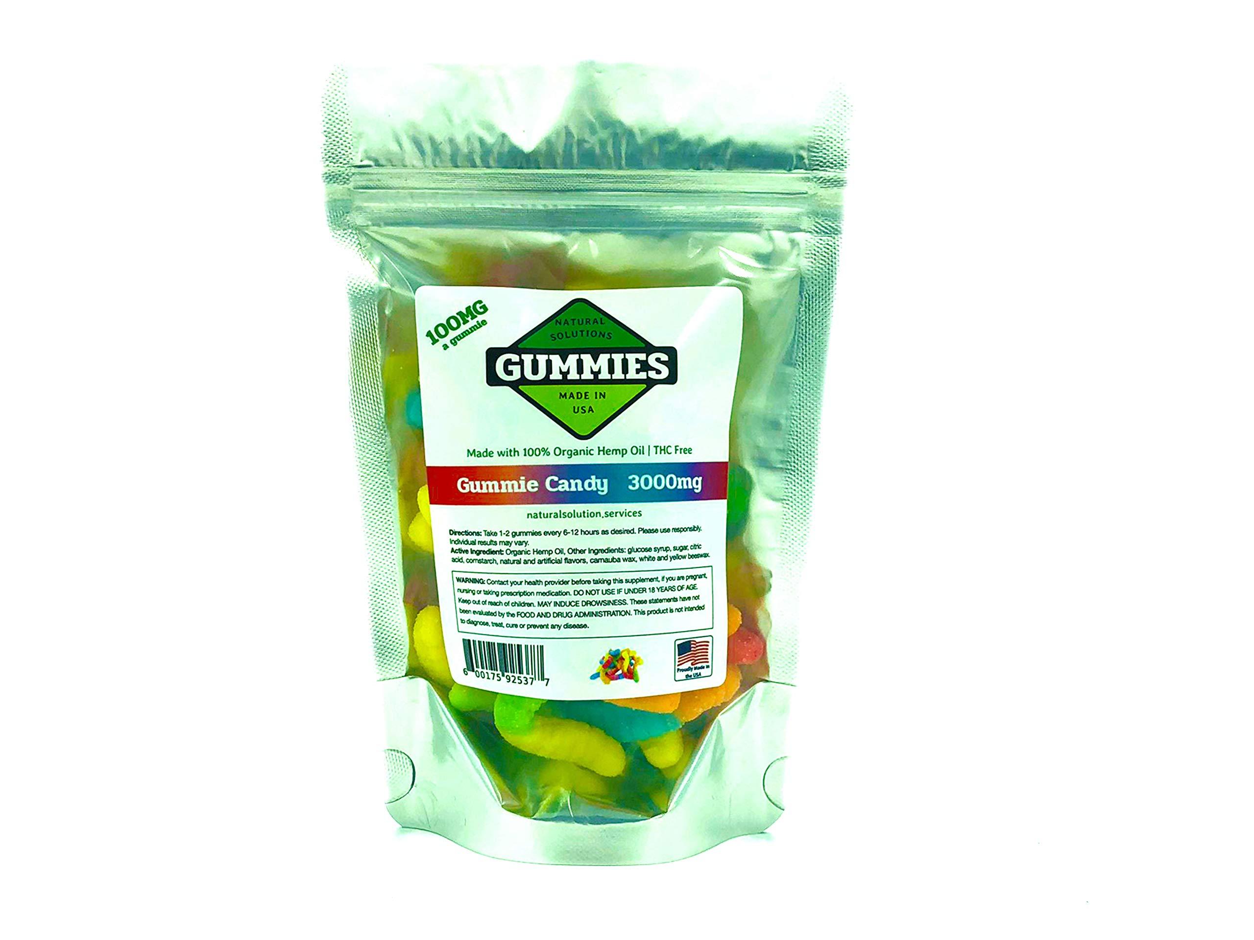 Premium Hemp Gummies – Sour Worms – 3000 mg per Bag – 30ct Worms – 100mg per Gummy – Organic Hemp + MCT – 0% THC – Relief for Stress, Pain, Inflammation, Anxiety, Depression, Nausea