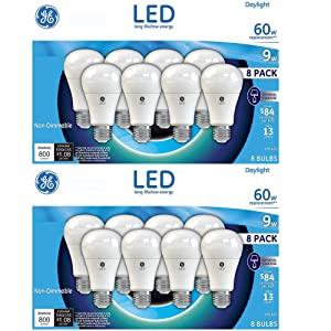 GE 60W Replacement Soft White LED 8 Pack (16 Pack, Daylight)