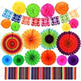 Fiesta Party Supplies Mexican Party Decorations Set 20 Pieces, Serape Table Runner, Paper Hollow Fans, Paper Fans, Pom…