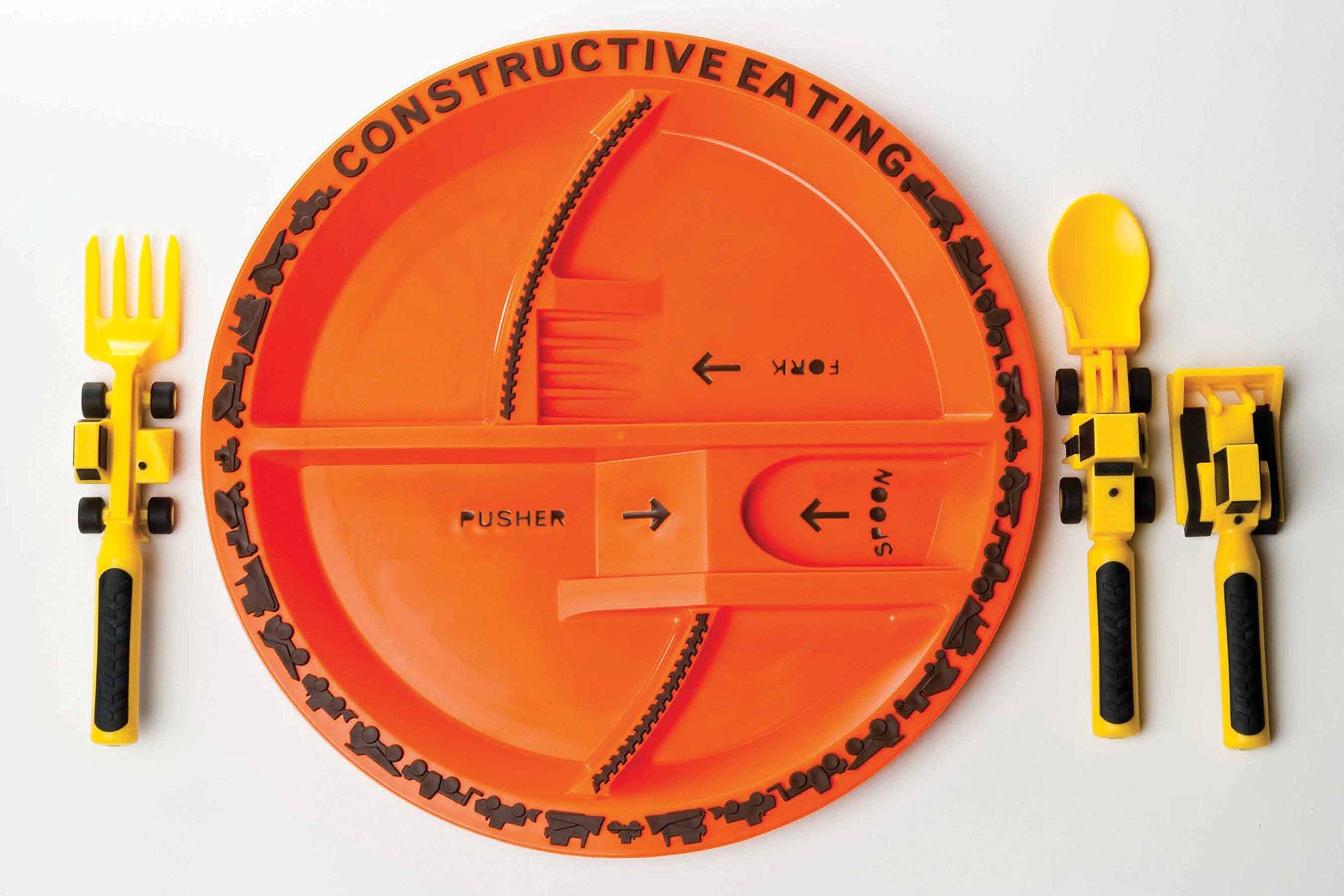 Constructive Eating - Construction Utensil Set with Construction Plate & Constructive Eating - Construction Utensil Set with Construction ...