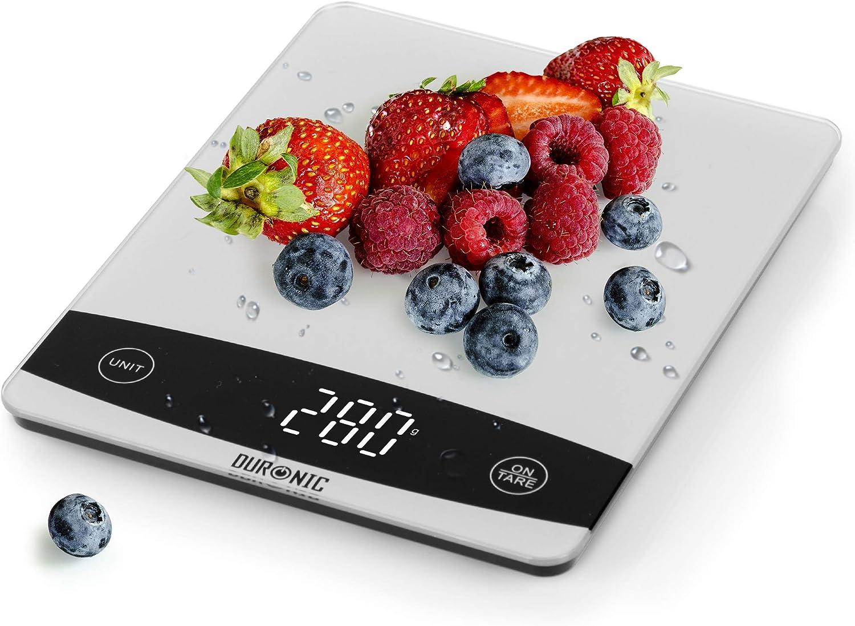 Duronic KS1009 Báscula de cocina digital 18x18cm – Pantalla LDC con lectura de dígitos fácil – Peso máximo 5kg – Función tara – Mide en gramos, libras, onzas fluidas y mililítros – Color gris