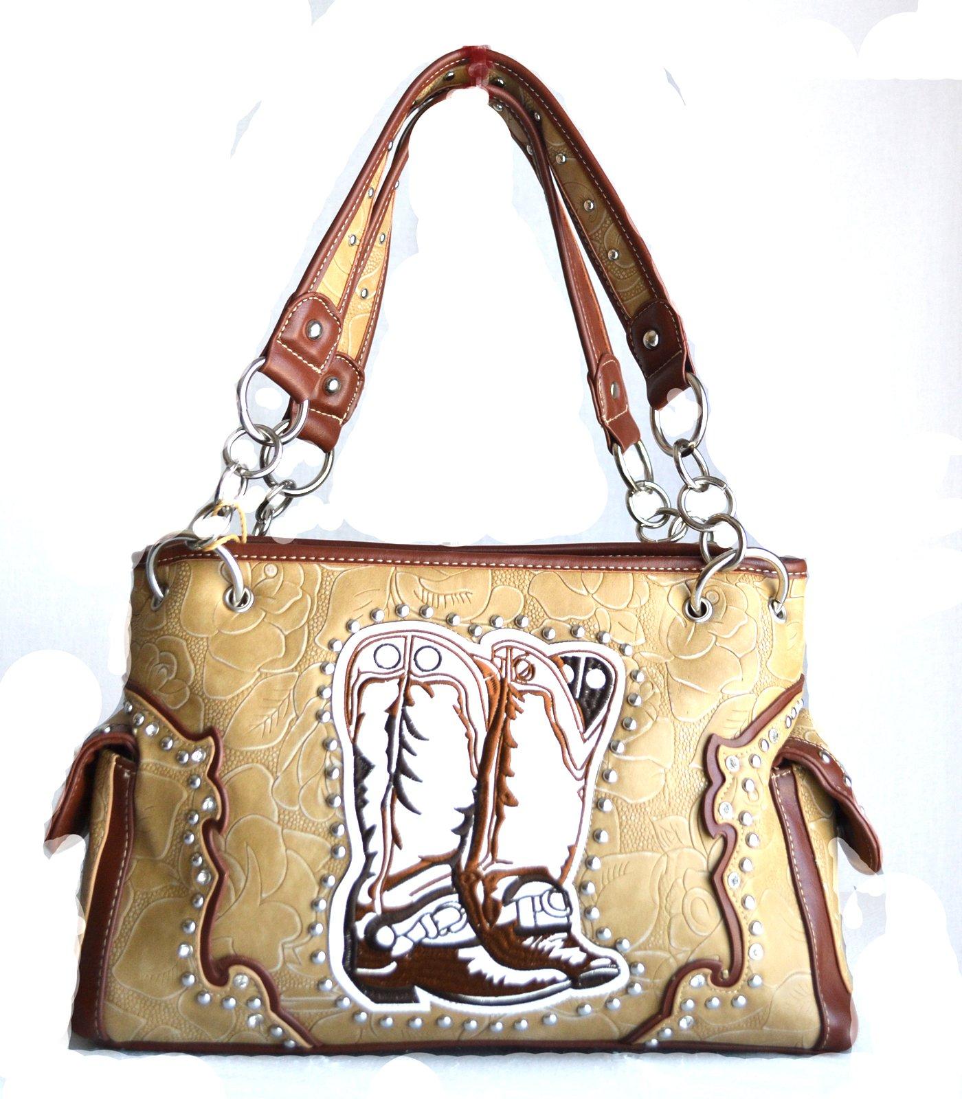 Western beige Boot Cowgirl Rhinestone Leather Handbag Purse