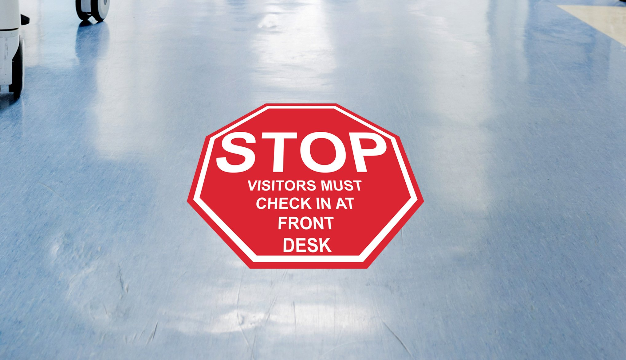 ''Stop Visitors Must Check in at Front Desk'' - 16in Durable Floor Sign by Graphical Warehouse Vibrant Colors - Safety and Security Signage. Red Octagon.