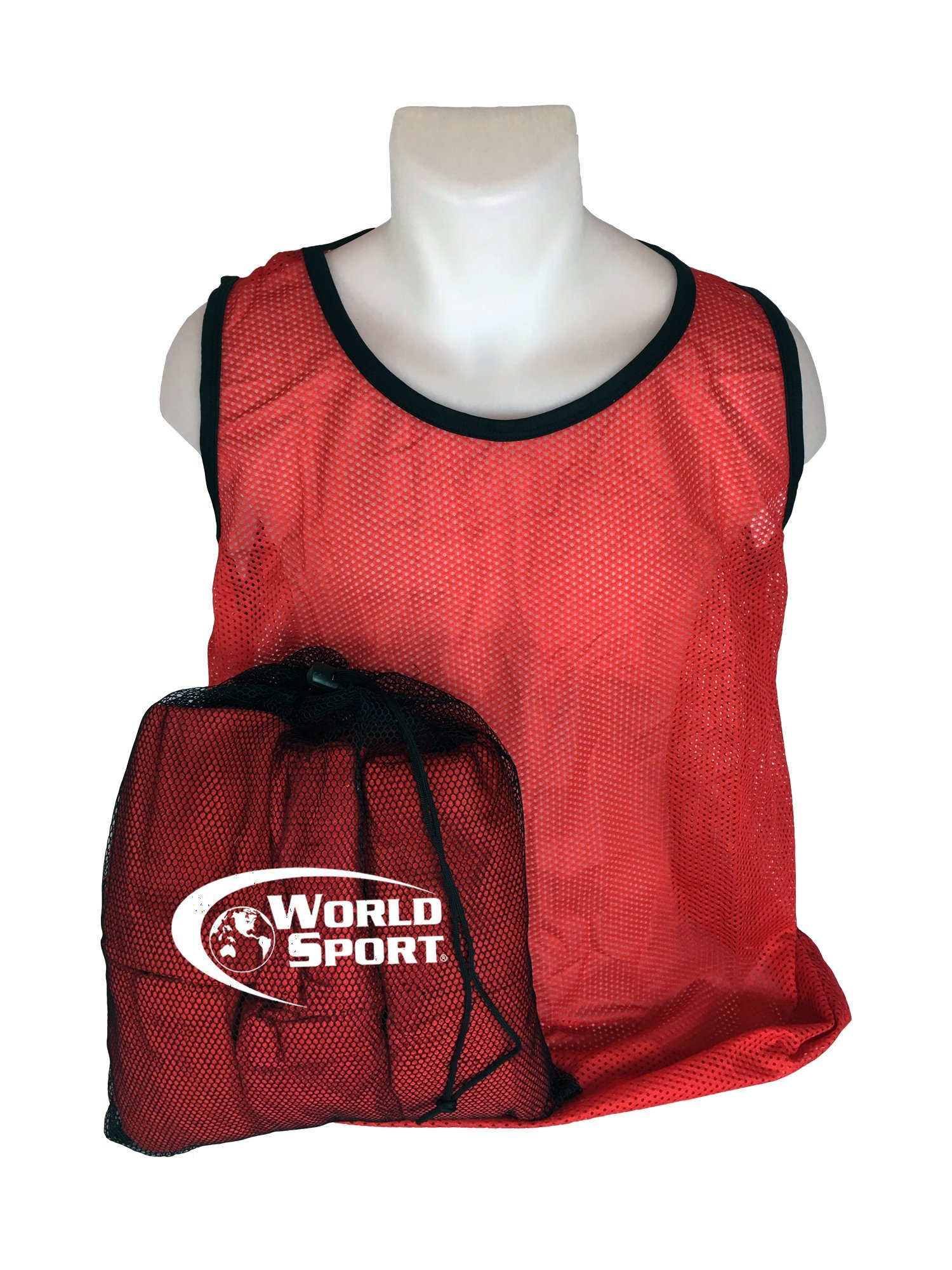 World Sport 12 Pack Adult RED Scrimmage Vests with Carry Bag by